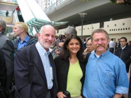 http://www.oaklandinstitute.org/: French farmer leader Jose Bove was allowed into Hong Kong after being detained for 6 hours at the airport. Bove is pictured along with the Oakland Institute's Anuradha Mittal and Tony Clarke outside the NGO accreditation center.